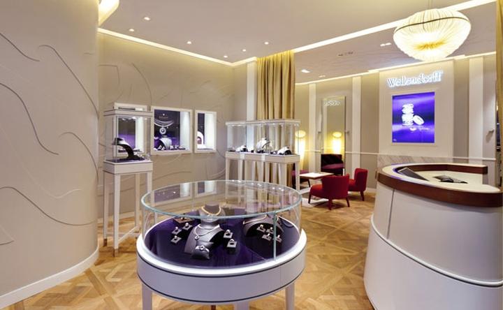 钻之润品牌珠宝店,珠宝展示柜空间设计