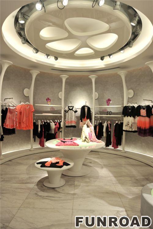 时尚服装零售店的照明MDF展示架展示柜