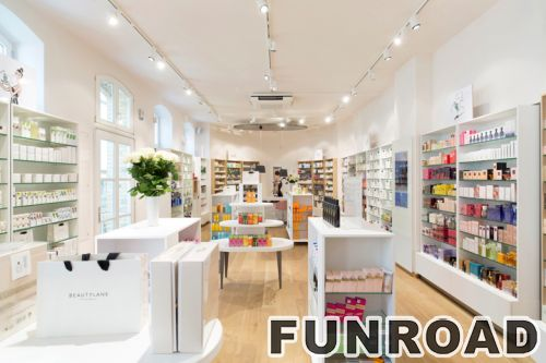 现代的零售家具木化妆品陈列架柜台设计效果图