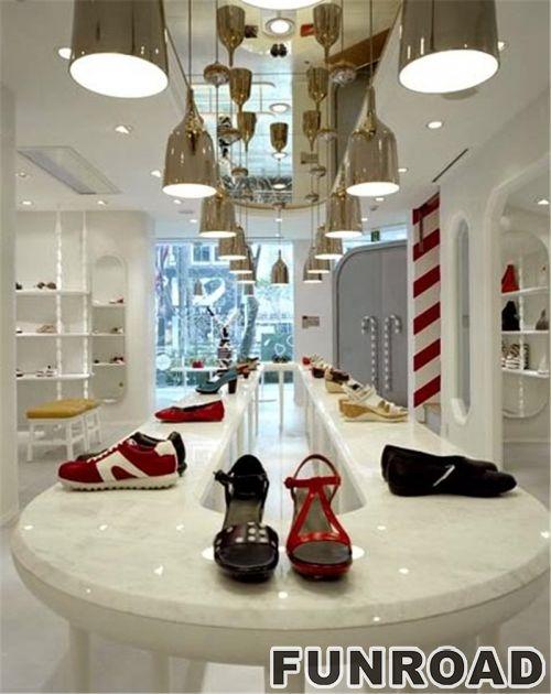 木制陈列架/品牌鞋零售店展示柜设计