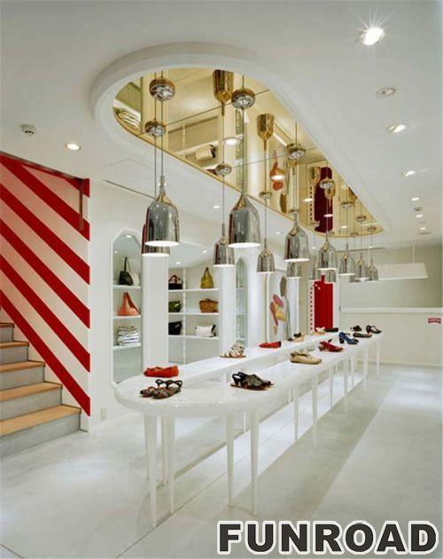 鞋类零售商店LED展示柜流行时尚的室内设计