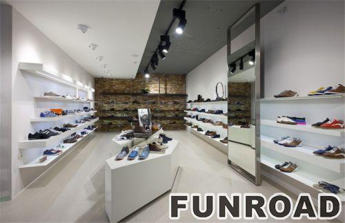 鞋子零售店展示柜白色中岛木质展示柜陈列柜