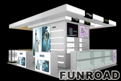 带led灯的化妆品商店展示柜设计效果图