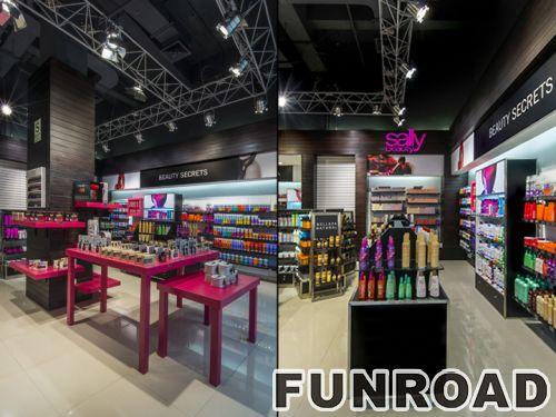 时尚化妆品店设计木制零售陈列柜展示效果图