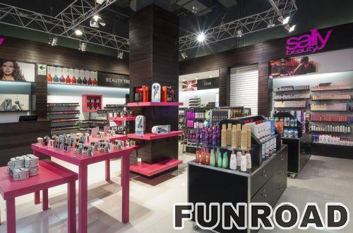 时尚化妆品店设计木制零售展示柜效果图