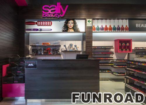 化妆品店木墙柜台LED灯展示柜效果图