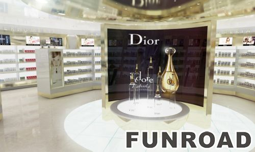 迪奥化妆品零售店室内装饰4层玻璃展示柜效果图