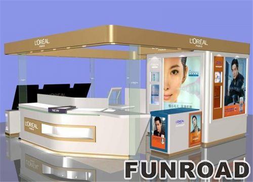 品牌化妆品售货亭设计玻璃展示柜台