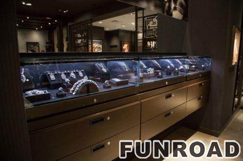 不锈钢拉丝珠宝展柜整体设计制作