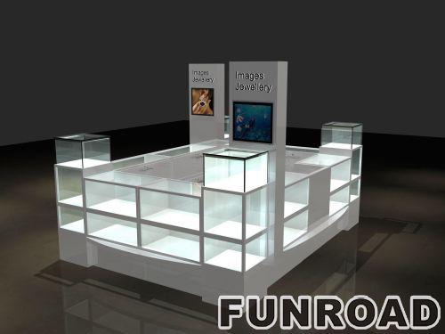 豪华陈列室设计珠宝陈列亭,出售黄金珠宝陈列厅室内设计,led灯展柜