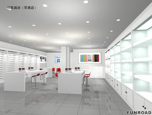 手机店装饰的典雅的设计木手机展示柜