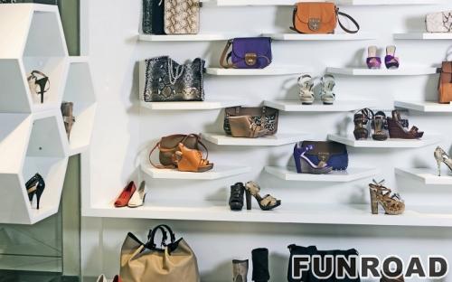 零售鞋店室内设计木制运动鞋展示柜