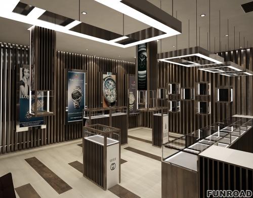 顶级豪华钟表店展柜设计,采用木制陈列式家具,如陈列柜、橱柜等。