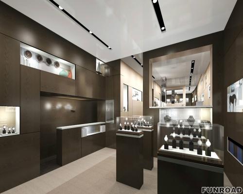 Funroad提供免费的3D手表商店室内设计和木制展示柜台橱窗展示效果图