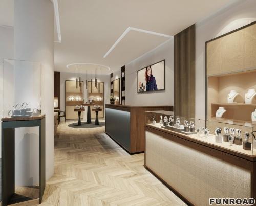 高端奢侈零售瑞士珠宝手表店,配有木制手表展示柜设计