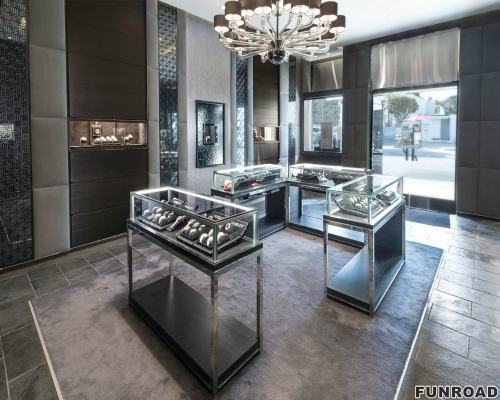工厂自定义不锈钢表店展示柜带LED顶