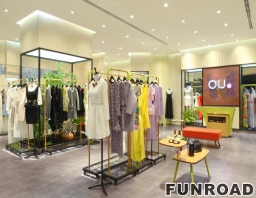 品牌服装店时尚高端金色金属衣服展示架