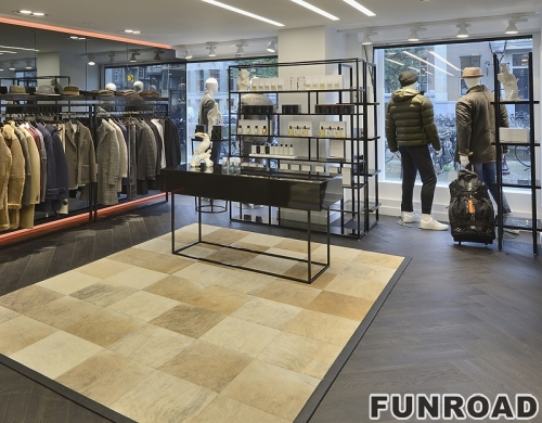 服装商店时尚木制展示柜衣架配件接待台