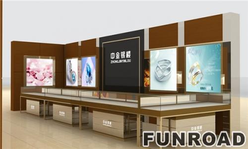 大气中金银楼珠宝展柜台设计效果图