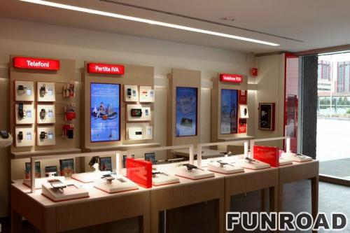 移动电话商店木柜手机展柜橱窗陈列效果图
