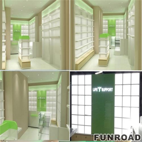商业药房陈列柜家具展示柜台效果图