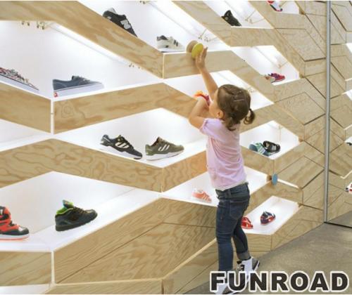 高端木板墙鞋架展示柜鞋店货架展架