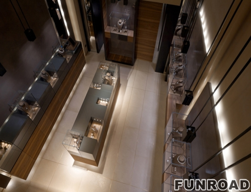 豪华商业珠宝展示店室内设计为零售定制珠宝展示柜家具设计