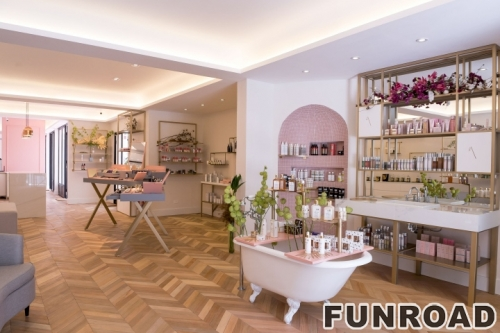定制的木质化妆品展示柜台,高品质的柜台显示