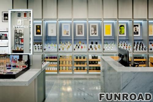 定制地板丙烯酸化妆台制造商直销化妆品展示柜,化妆品陈列橱窗