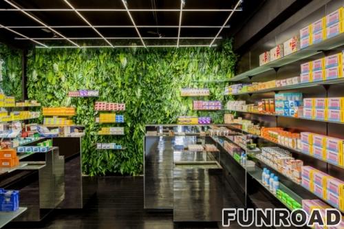 商场临街药店展示柜展示架设计效果图