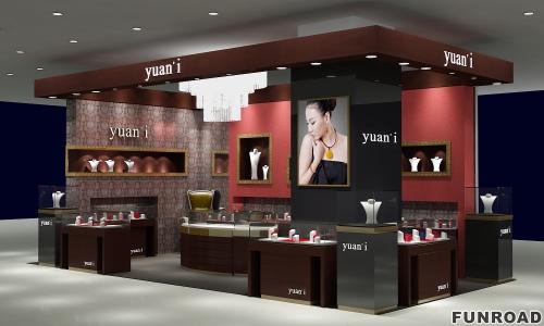 按客户需求定制的复古格调珠宝展示柜台设计案例
