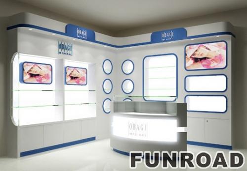 化妆品商场展柜和化妆品玻璃展示柜与led灯