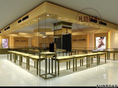 凡路深圳展柜厂定制玻璃珠宝展示柜,现场陈列效果