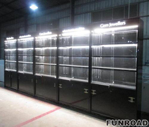 珠宝店独特的带LED灯展柜柜台包括高金属/木腿