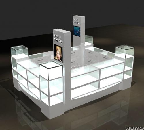 购物中心珠宝亭带LED灯透明玻璃珠宝展示柜