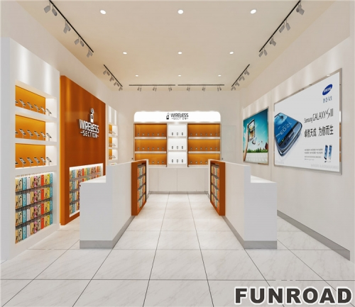 现代零售商店木制设计电话展示柜