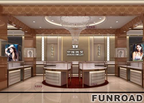 黄金珠宝店展示柜渲染效果图