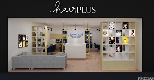 30平米理发店产品展示柜效果图