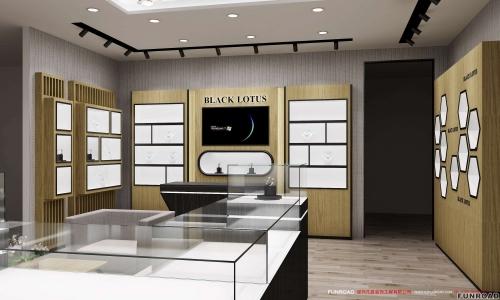 现代设计珠宝店室内设计木质珠宝展示柜
