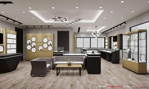完美的高端木制陈列柜,适合珠宝店装修。