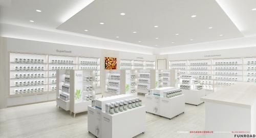 品牌连锁药店展示柜展示架整体设计效果图