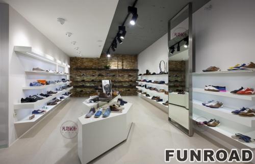 FRSD-94151白色实木烤漆鞋店展柜案例