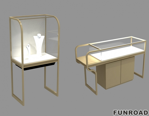 深圳展柜厂工厂设计 不锈钢珠宝展示柜