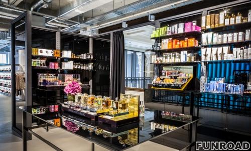 亚克力烤漆化妆品店展示柜制作案例