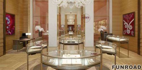 高端弧形不锈钢珠宝展示柜案例