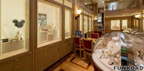 不锈钢圆弧形珠宝店展示柜制作