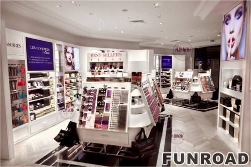 法国白色亚克力烤漆化妆品店展柜
