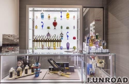 不锈钢玻璃香水店展示柜台