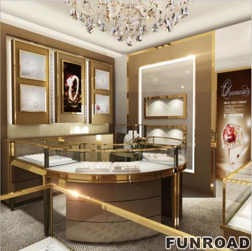 电镀不锈钢珠宝展柜设计效果图
