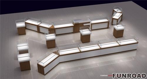 木纹玻璃珠宝展柜设计制作